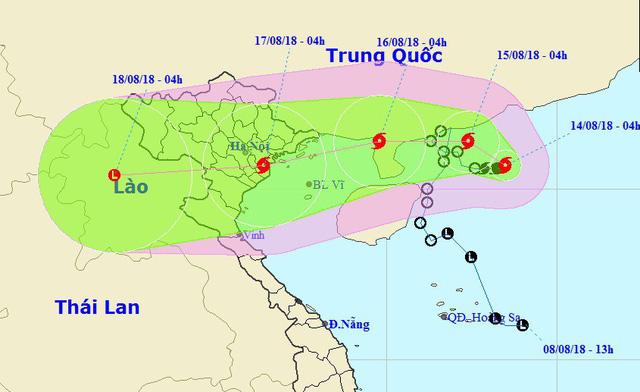 Vị trí và hướng di chuyển của bão số 4. (Ảnh: NCHMF).