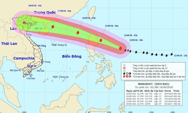 Thông tin mới về siêu bão Mangkhut